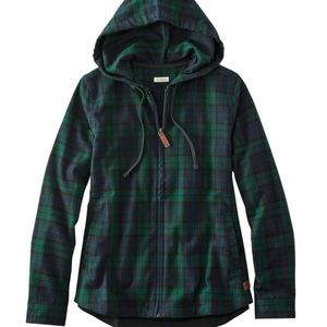 LL Bean Plaid Flannel Shirt Relaxed Zip Hoodie